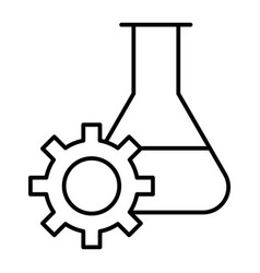 experiment research thin line icon lab flask and vector image