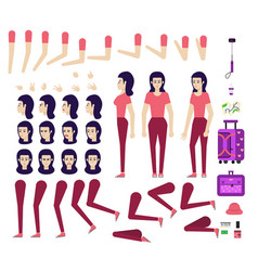 female tourist creation kit - set different vector image