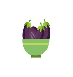 flat eggplants in ceramic pot icon vector image