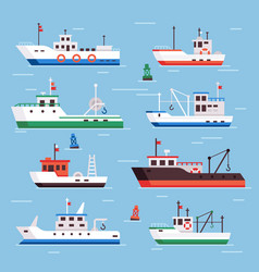 Flat fishing boats commercial fishery ships vector