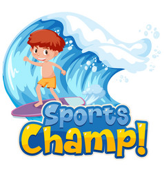 Font design template for word sports champ vector