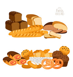 fresh bread isolated on white vector image