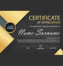 Gold elegance horizontal certificate vector