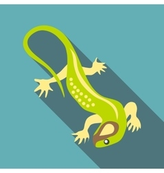 Green lizard icon flat style vector image