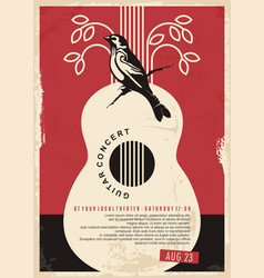 Guitar concert retro poster design for music event vector