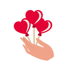 hand holding heart balloons isolated icon vector image