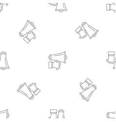 hand holding speaker pattern seamless vector image