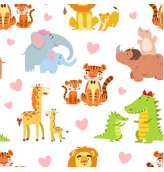 happy african animals family seamless pattern vector image