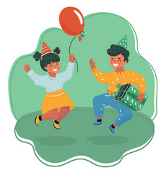 happy boy and girl jumping vector image