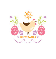 happy easter greeting card design cute chicken vector image