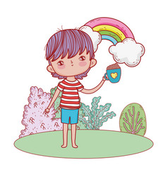happy little boy with rainbow in the landscape vector image