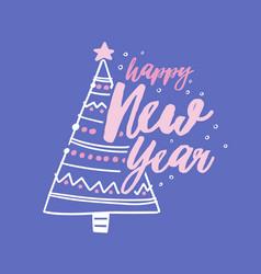 Happy new year holiday wish handwritten vector