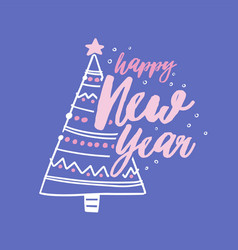 happy new year holiday wish handwritten with vector image