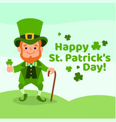 happy st patricks day with leprechaun vector image