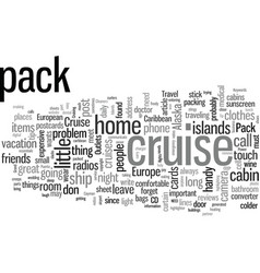 how to pack for cruise travel vector image