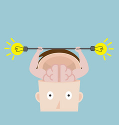 human brain exercise with fresh bulb idea vector image