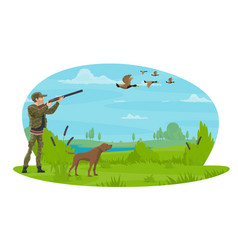 Hunter and hunt for ducks poster design vector