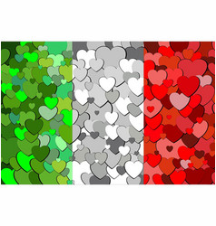 Italian flag made of hearts background vector
