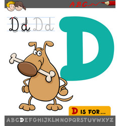 Letter d with cartoon dog vector