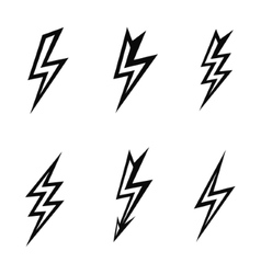 lightning silhouettes on white background vector image