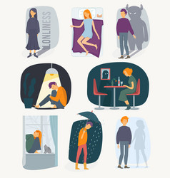 loneliness people depressed rain feeling of vector image
