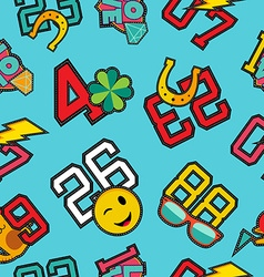 Lucky numbers stitch patch icons seamless pattern vector image