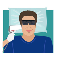 Man receiving laser hair removal treatment vector