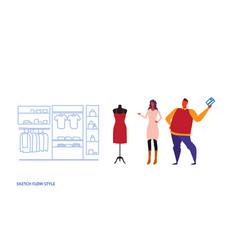 man woman choosing new dress couple standing vector image