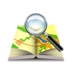 Map book and magnifier isolated on white vector