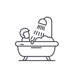 mens bathroom line icon concept mens bathroom vector image