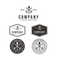 mining industrial logo set template vector image