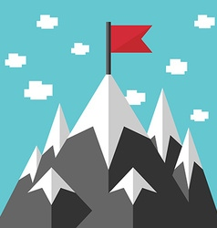 Mountains and red flag vector