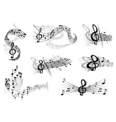Musical waves with notes and a clef vector image