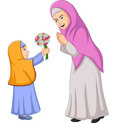 Muslim girl giving a bunch flowers to her mothe vector