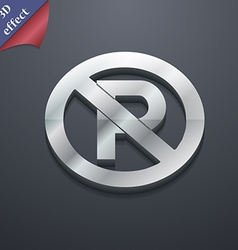 No parking icon symbol 3D style Trendy modern vector image