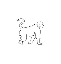 One continuous line drawing walking baboon vector