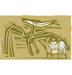 Paleontologists pterodactyl fossil vector