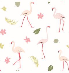 pink flamingo birds tropical greenery exotic vector image