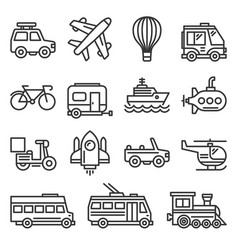 public transportation and transport icons set on vector image