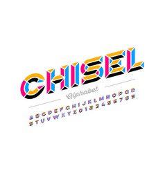 retro style chisel font colorful alphabet letters vector image