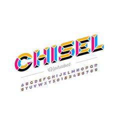 Retro style chisel font colorful alphabet letters vector
