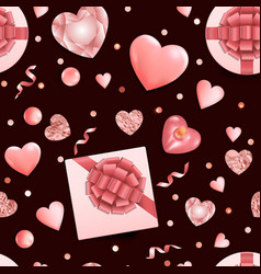romantic seamless pattern with flat lay pink vector image