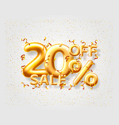 Sale 20 off ballon number on grey background vector
