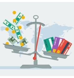 Scales - credit card or money vector