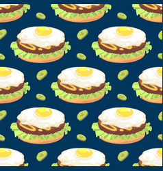 Seamless pattern with omelette sandwich vector