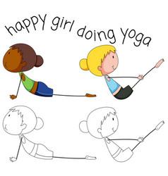 set doodle yoga girl vector image