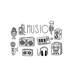 set icons related to musical theme tape vector image