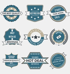 Set of business labels and ribbons in vintage vector