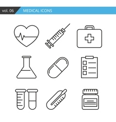 Set of medical icons executed in a linear flat vector
