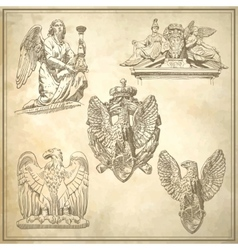 Set of sketch drawing winged element angel vector